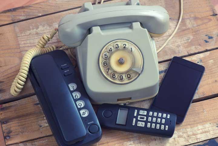 oude vaste telefoontoestellen