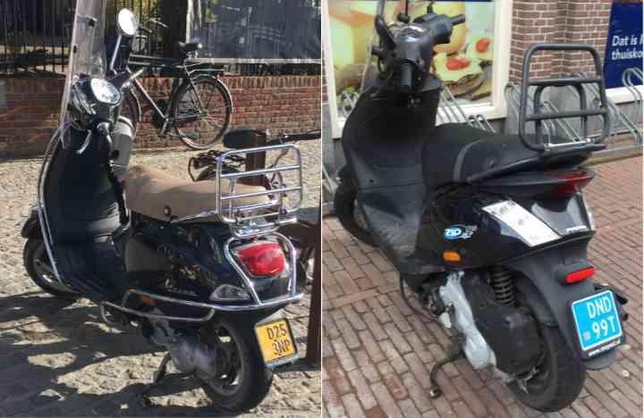 scooter met blauw en geel kenteken