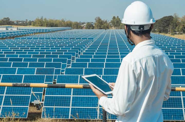 zonnepanelen in een zonnepark