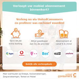 UnitedConsumers Mobiel abonnement verlengen